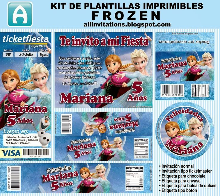 All Invitations: Kit Imprimible Frozen