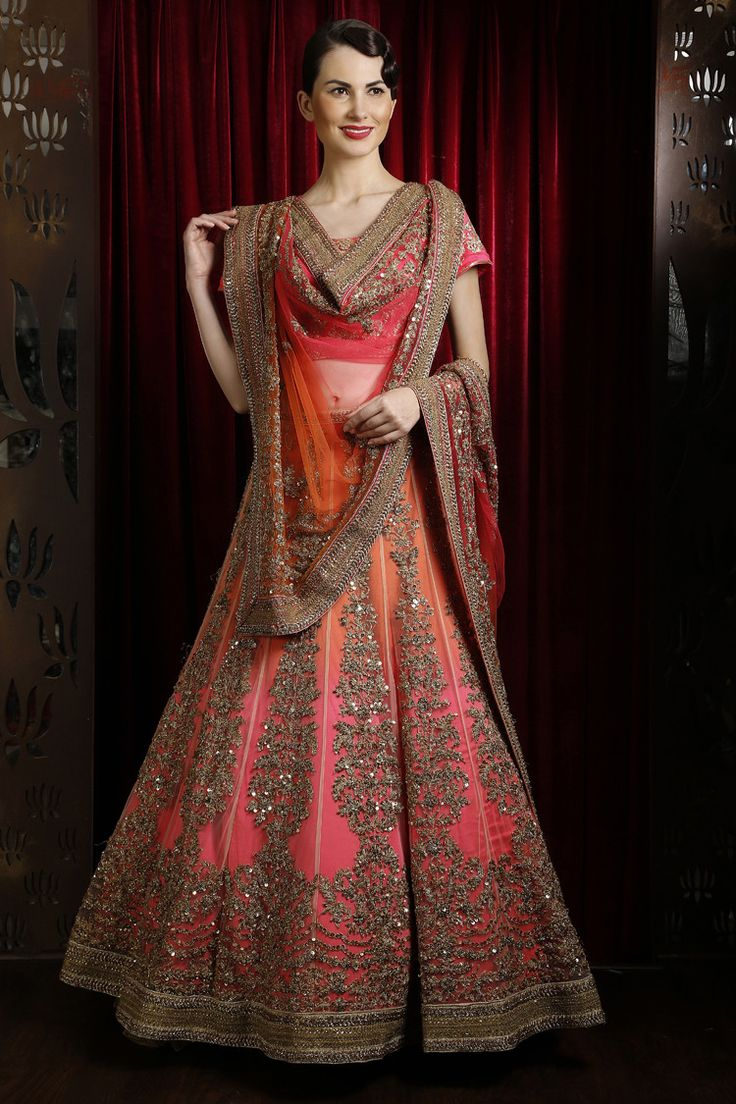 Beautiful Pink, Orange and Gold Bridal Lengha from Wed In Vogue