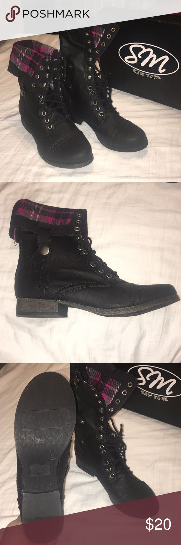SM New York Corey Boots BRAND NEW boots! Size 8! I can send more pictures if needed! You can wear folded or all the way up! Purchased from Sears but never worn. SM New York Shoes Combat & Moto Boots