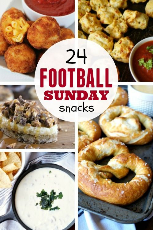 24 Football Sunday Snacks - https://www.makeoversandmotherhood.com/football-snacks/  Are you ready for some football? You will be with these game day snack recipes! Delicious!