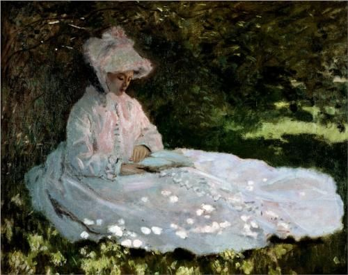 A Woman Reading - Claude Monet my favorite still. This hung above my bed( in poster form of course)  16 th birthday present from my mom.