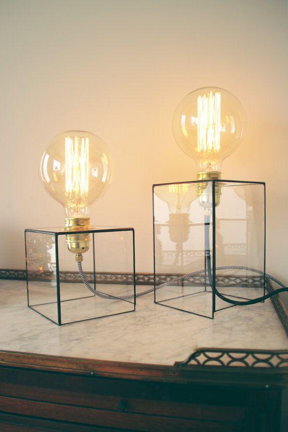 Geometric lamp  Industrial lighting  Handmade  by AlexaWorkshop