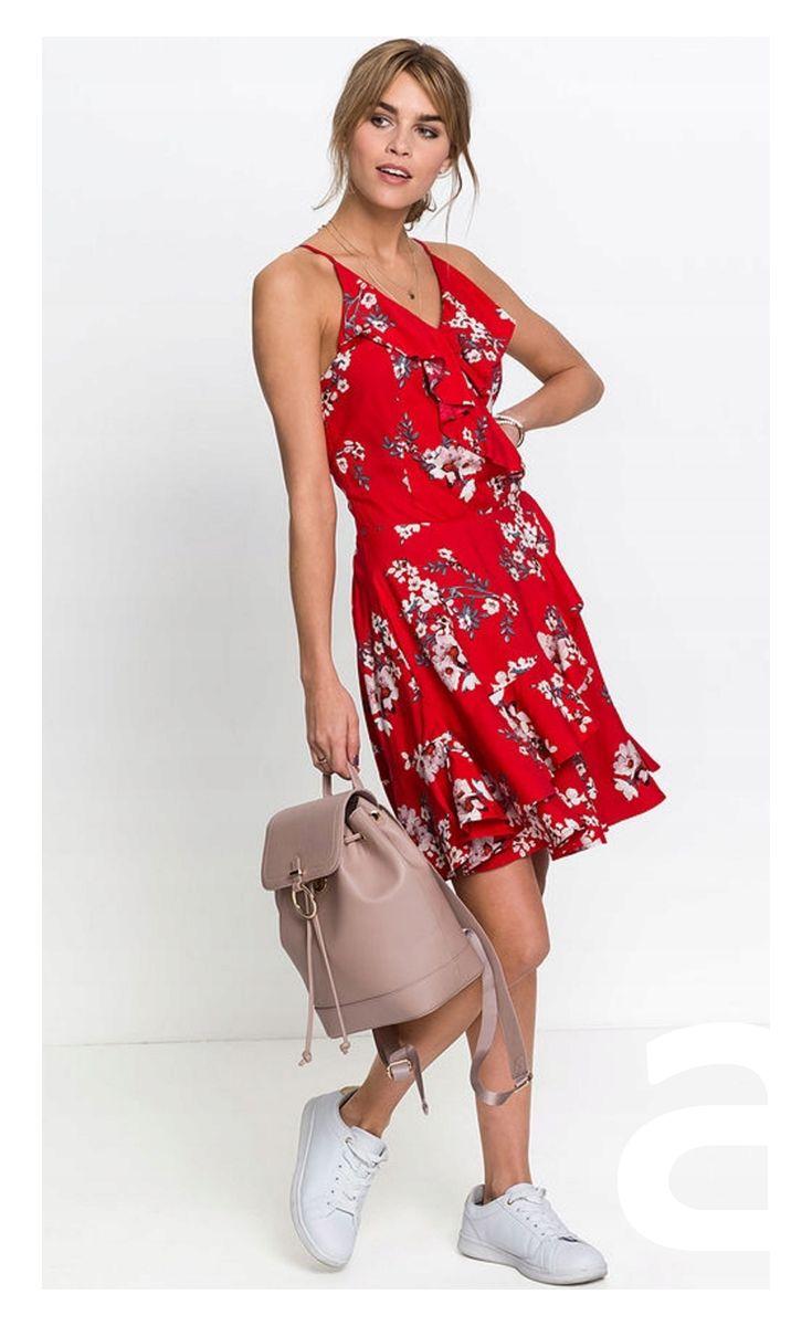Moda Damska Sukienka W Kwiatki Kobieca Stylizacja Stylizacja Sukienka Nad Kolano Sukienka Mini Dresses Fashion Wrap Dress