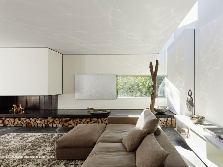 Contemporary Fireplace, Wood Store, Elegant Villa In Stuttgart, Germany