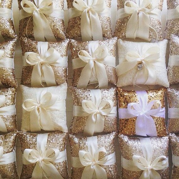 Wedding Ring Bearer Pillow Champagne Sequin and by TwentyEight12