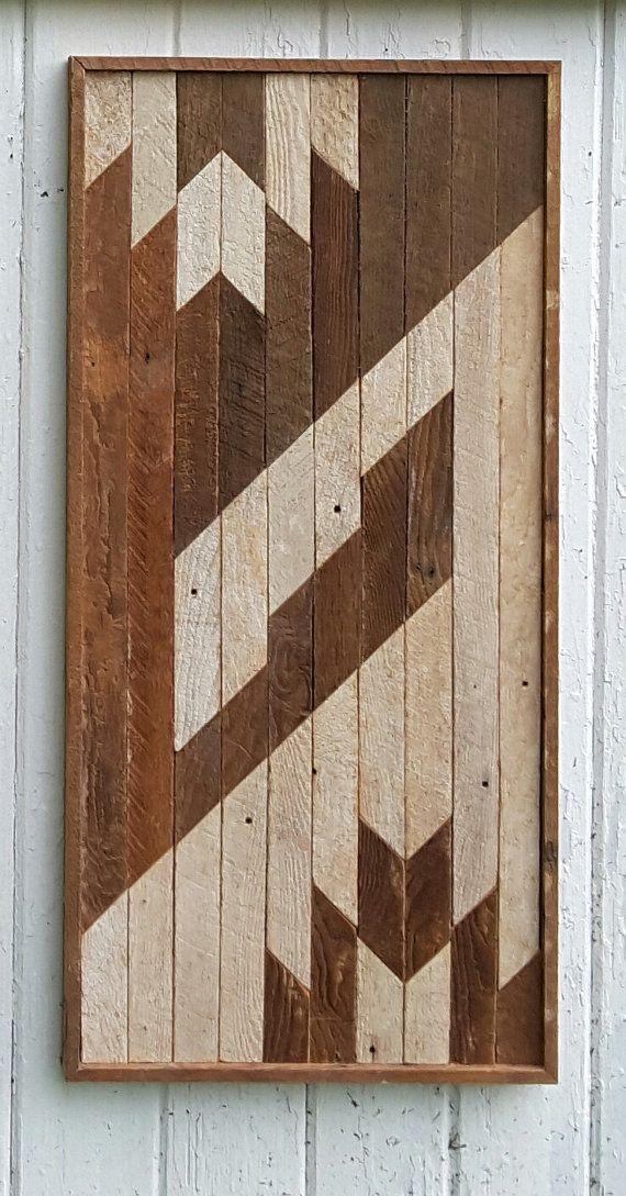 """Recuperado arte de listón de madera de la pared, arte abstracto, decoración de la pared de madera, mosaico arte, geométrico, moderno contemporáneo, 15"""" por 31"""""""