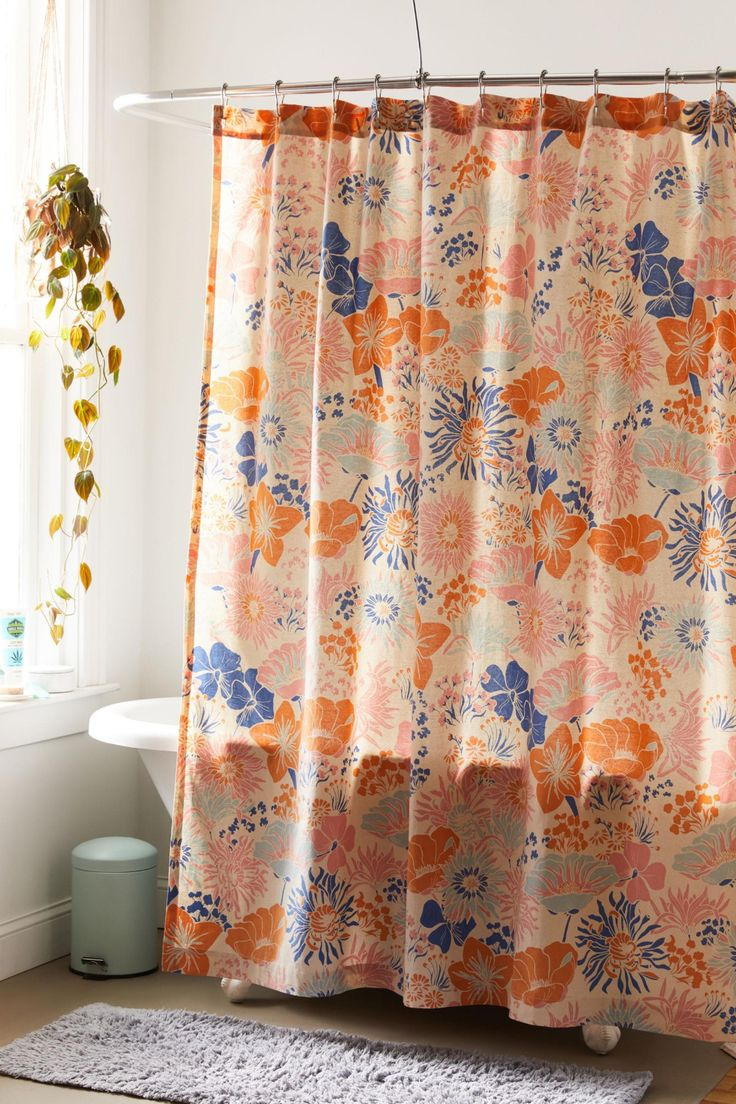 Gail Floral Shower Curtain Floral Shower Curtains Curtains