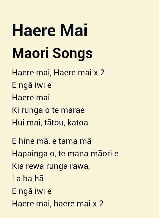 Haere Mai - Maori Song Lyrics | Maori songs, Maori words