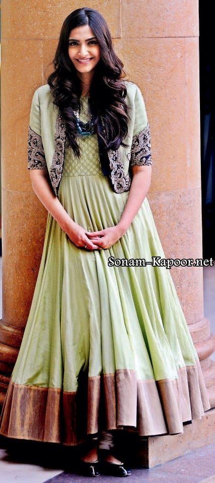 Sonam wearing a lovely light green anarkali