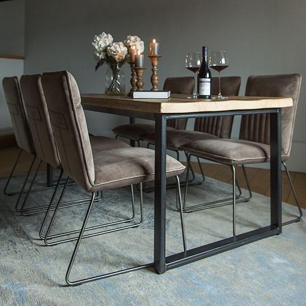Cleo Velvet Industrial Dining Chair Side Dining Chairs Velvet