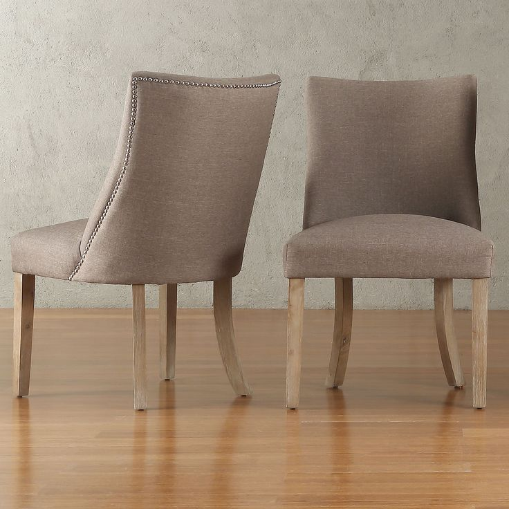 Abbott Nailhead Curved Back Upholstered Dining Chairs Set