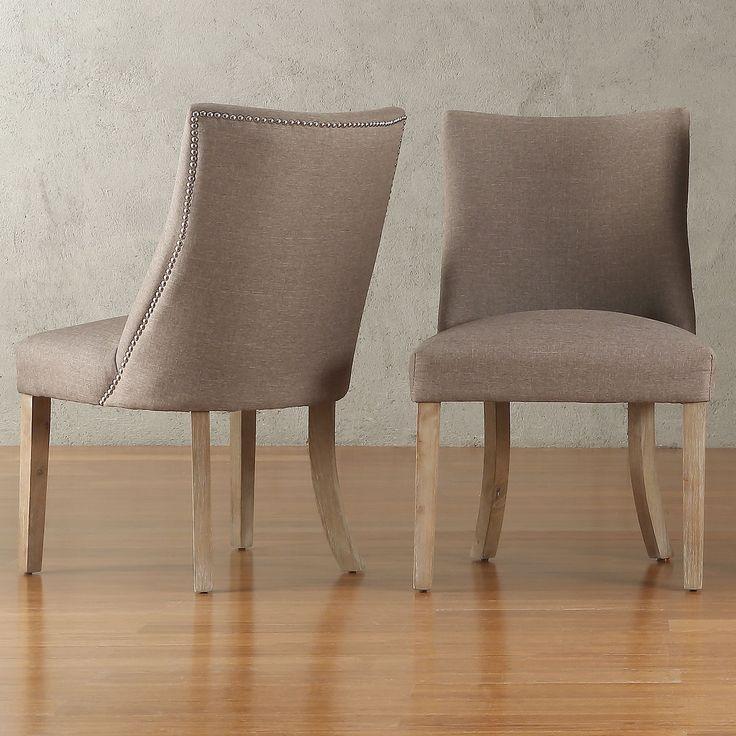 Upholstered Dining Room Chair: Abbott Nailhead Curved Back Upholstered Dining Chairs