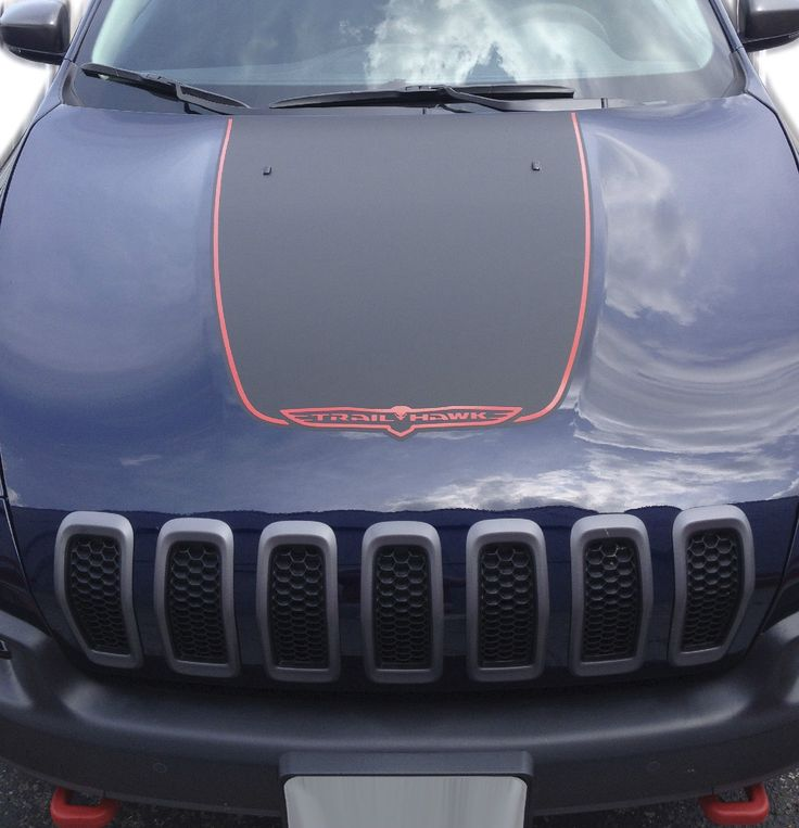 Jeep Renegade Stickers >> Details about 2014-2017 JEEP CHEROKEE TRAILHAWK BLACK SATIN VINYL HOOD DECAL STICKER GRAPHIC ...