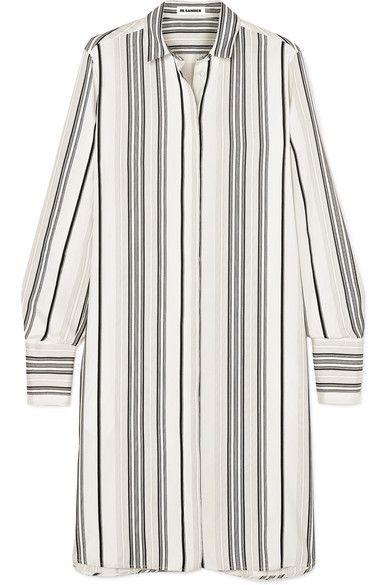 73002a5636905 JIL SANDER Embroidered striped grain de poudre silk shirt