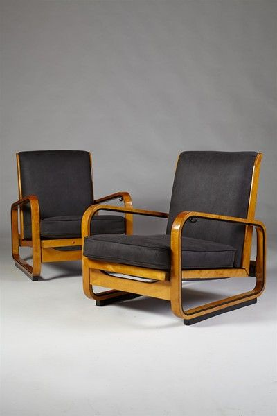 Pair of adjustable armchairs, designed by Erik Chambert, Sweden. 1930's. - Modernity, Stockholm