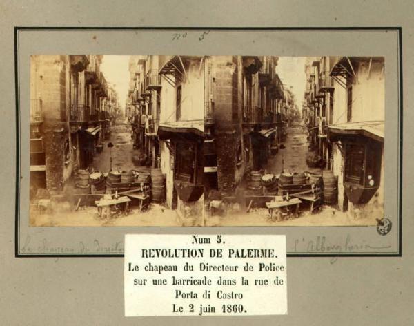Spedizione di Mille - Rivoluzione di Palermo - Via Porta di Castro - Barricate