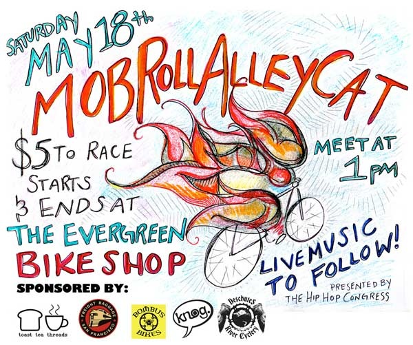 The Mob Roll alleycat is heading in to Olympia , WA on May 18th. Music, films, art, food and awesome rides, check out the link Mob Roll for more.
