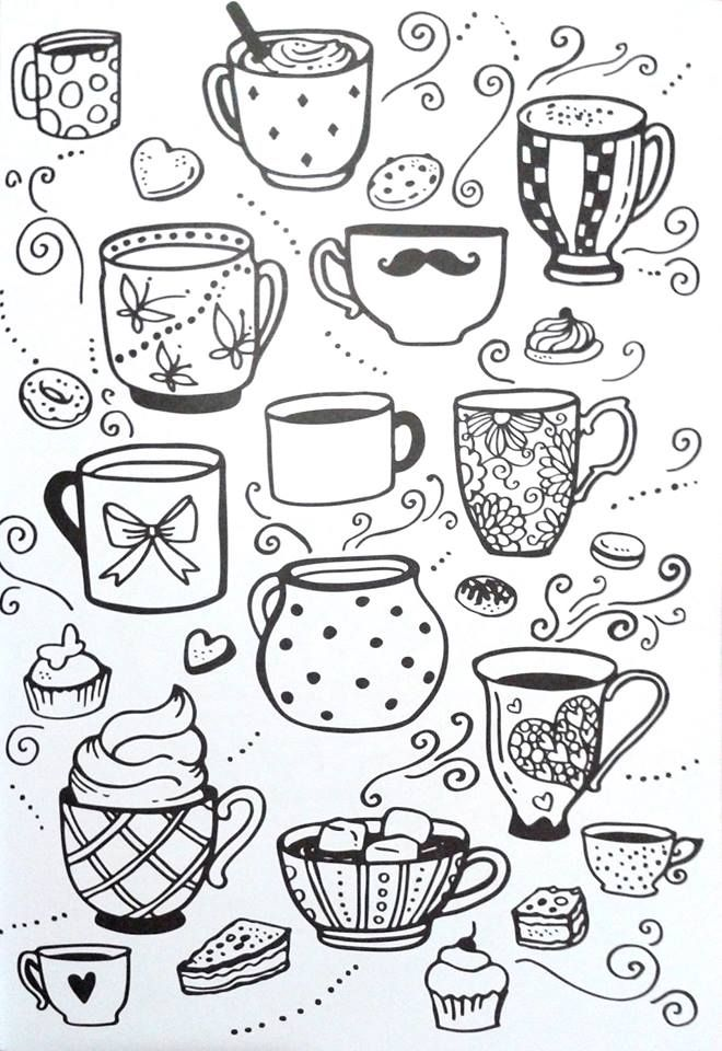 Livro de Colorir Arteterapia Criativa - Adult Coloring pages Cupcake cup tea