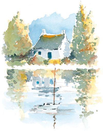 Aquarelle maison au bord de l'eau, Yvon Carlo - Paysages de Bretagne