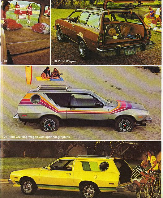 1978 Ford Pinto Cruisin' Van and Station Wagon. Man, those Cruisin' Van versions are SO crazy. Why don't car makers do anything weird like that anymore?!