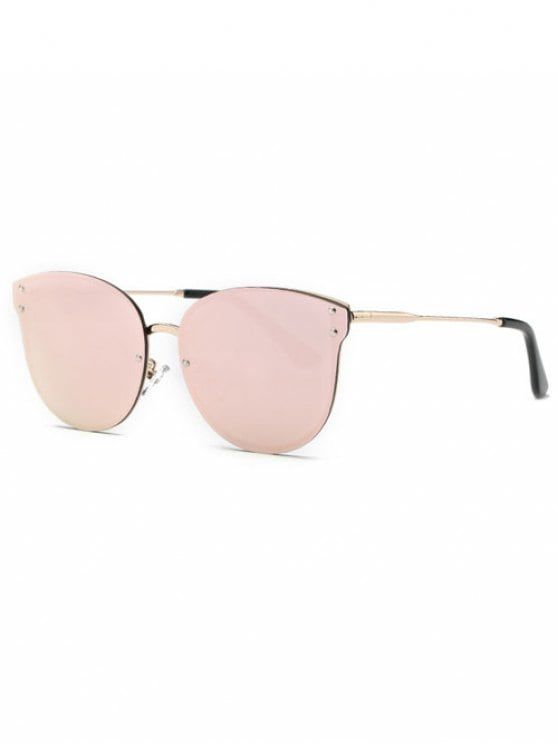 Pink Frameless Mirrored Sunglasses - PINK