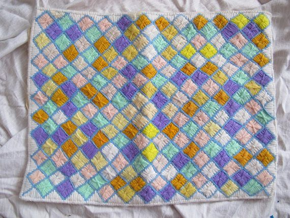 Perfect for babys room, or as a colourful accent piece. Nicely made yarn needlepointed pillow cover with pale yellow soft cordoruy backing. Shades of pale pink, yellow, green and brighter tones of purple, orange and yellow. Vintage new cover is 14 by 11 inches. Excellent condition.  All