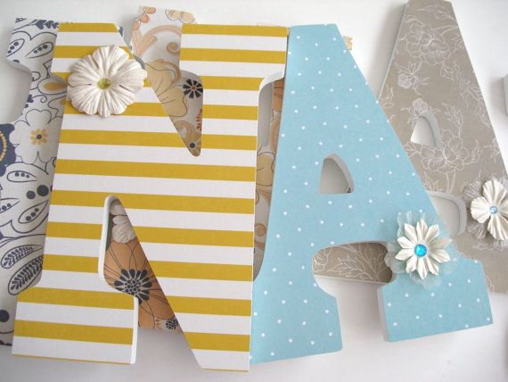 Set of 9 Decorated 9 Wooden Letters Personalized by LetterLuxe