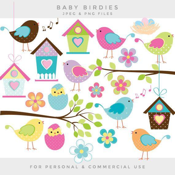 Bird clipart - little birds clip art baby birds whimsical cute birdies birdhouse eggs sweet birdy commercial use scrapbooking digital