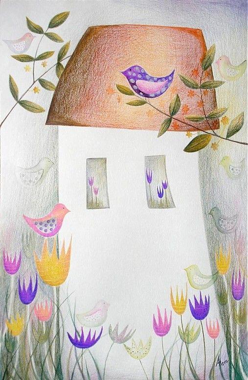 Ráno v záhrade by bien - SAShE.sk - Handmade Kresby