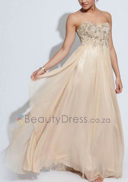Backless A-line Sleeveless Sweetheart Crystals Champagne Floor-length Dresses - 1640617 - Prom Dresses