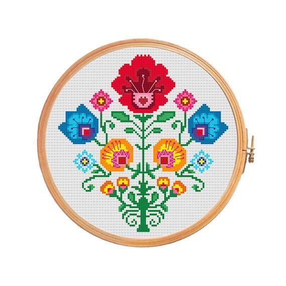 (10) Name: 'Embroidery : Crab polish flower wycinanki