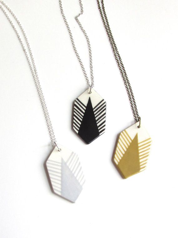 Feathered Geometric Ceramic Necklace by PulsePaint, $40.00