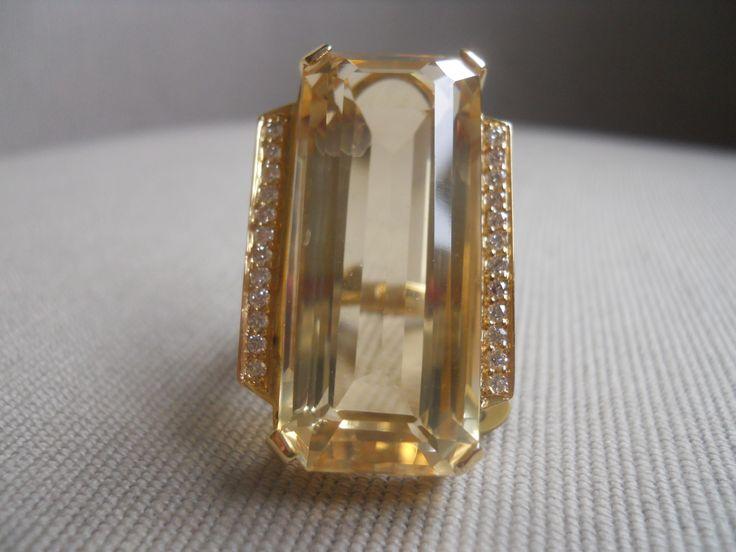 """Melina"" ring.  Champagne Topaz, diamonds, gold. Unique."