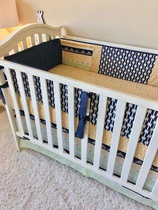 Navy and Mint Aztec Crib Bedding