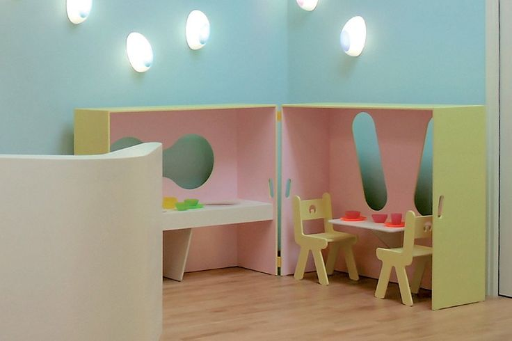 Folding House. House that folds to closed box for storage with kitchen and table for imaginative play.   Can be used to partition large spaces and create microspaces and shelters.  The large windows create visibility between different areas and the abstract form ensures that interpretation is not prescribed for children.