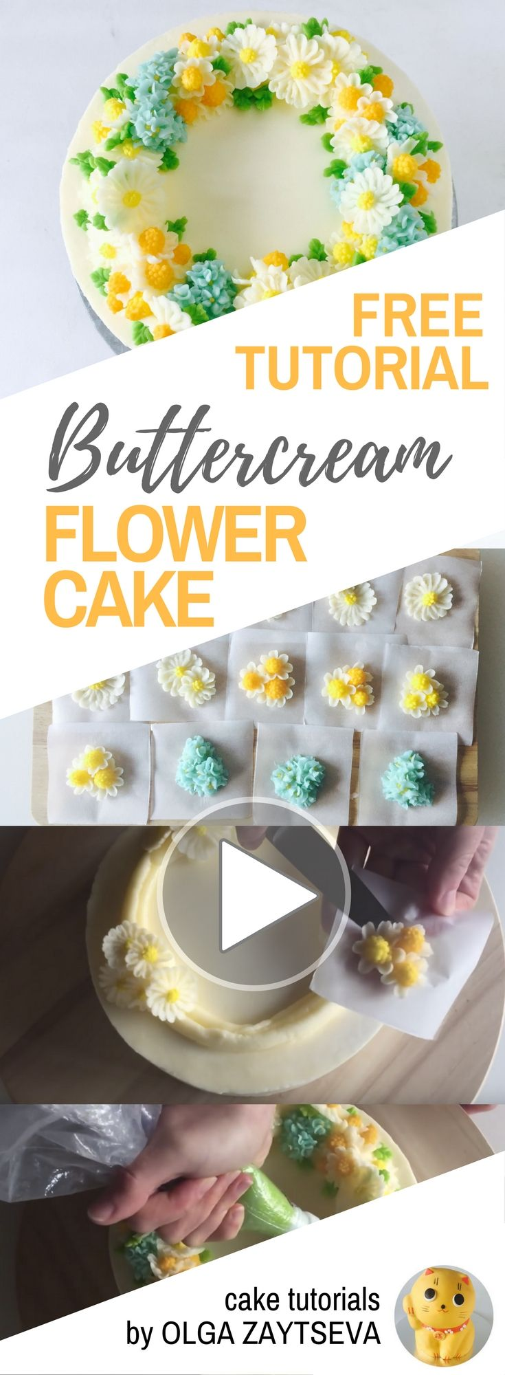 HOT CAKE TRENDS How to make Buttercream Camomile Flower Wreath cake - Cake decorating tutorial by Olga Zaytseva. Learn how to pipe tiny camomiles and hydrangeas and assemble a buttercream flower wreath cake.