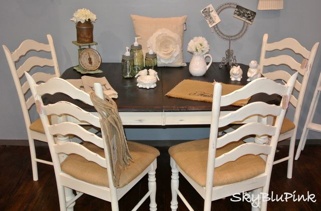 Old White, Walnut  Burlap. Annie Sloan Chalk Paint! For dining room furniture (backs of chairs would be reupholstered using strips of nailhead trim from Joann's)