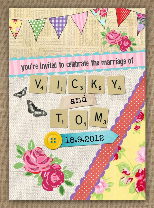 LOVE IN LETTERS scrabble vintage summer fete WEDDING INVITATION BY IN THE TREEHOUSE