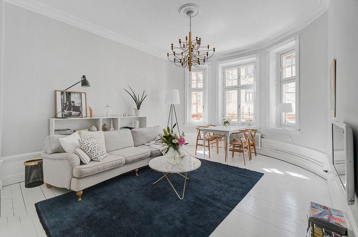 Howard sofa and blue carpet