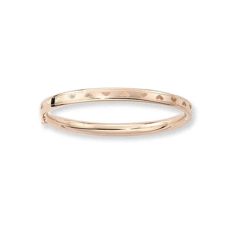 "BeadifulBABY :: Fine Baby Bracelets - 14K Yellow Gold Baby, Toddler Heart Bangle Bracelet - Size 4.5"" - BEST SELLER"