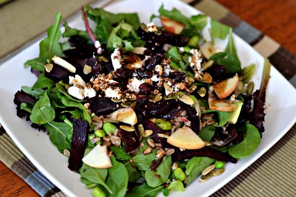 Mixed greens, arugula, roasted beets, apples, edamame, pumpkin seeds ...