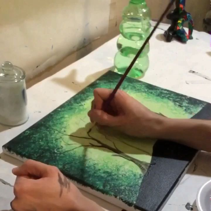 Glow in the dark paintings! Time-lapse Deer forest by TrueAcrylics