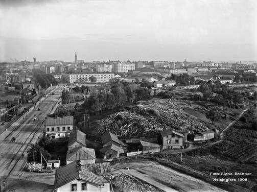 Näkymä Kansallismuseon tornista Helsingin keskustaan 1908.