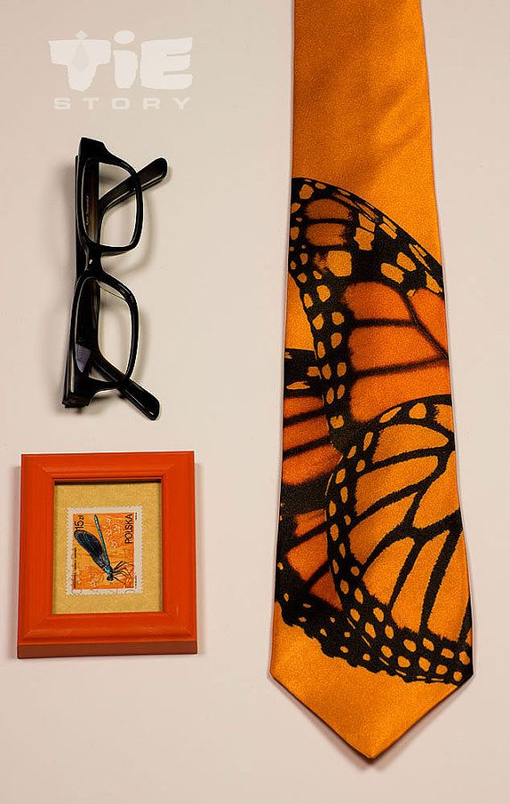 Monarch Butterfly orange tie.  Mens cool orange necktie with insect wing. Crazy tie for trendy entomologist. Alternative men's fashion.