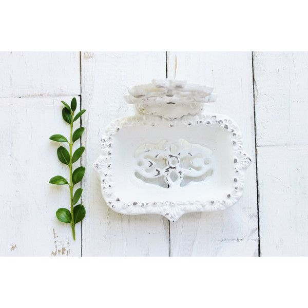 White Business Card Holder-Soap Dish-Bathroom Office Decor-Victorian... ($20) ❤ liked on Polyvore featuring home, home decor, office accessories, black, home & living, office, office & desk storage and black business card holder