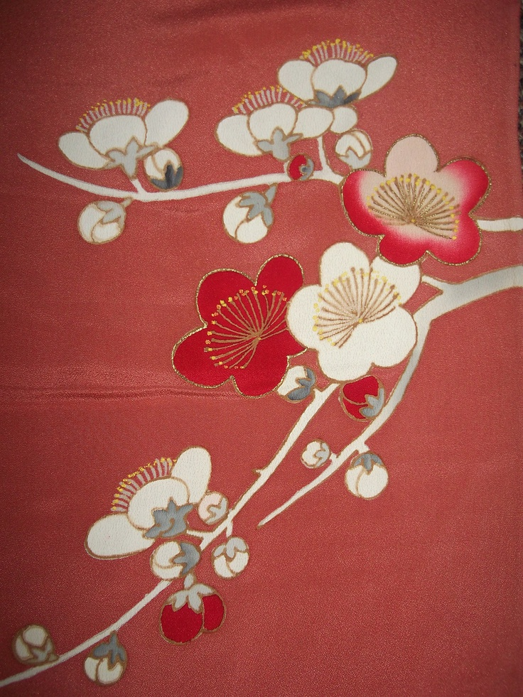"""STUNNING PLUM BLOSSOMS LIGHT CORAL CHIRIMEN JAPANESE KIMONO SILK FABRIC #A28.The silk is a light weight, luscious chirimen.  The base color is a most beautiful light coral (slightly lighter) at http://www.w3schools.com/HTML/html_colornames.asp.  The design is dyed in and screened with gold and yellow accents.  The silk is vintage but in really good condition (for vintage silk)...I see some tiny, light spots but that is about it! You are bidding on 14""""x60"""". (Feb 18, 2013 18:52:34 PST)"""