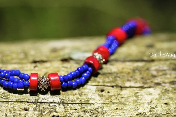 Red coral silver and deep blue beads necklace by LanguWorld