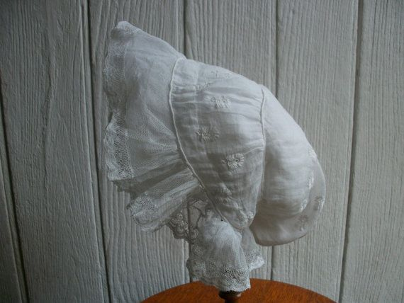 Antique French Baby Bonnet Lace Hand Embroidered by Vintagemaison