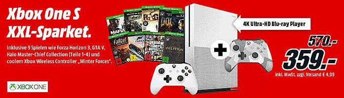 Sparket mit der Microsoft Xbox One S 500 GB inkl. 9 Spiele das ultimative Spiele- und Entertainment System