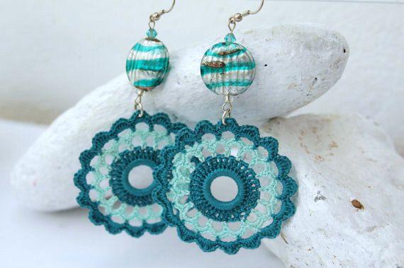 Crochet earring crochet earring jewelry large by lindapaula